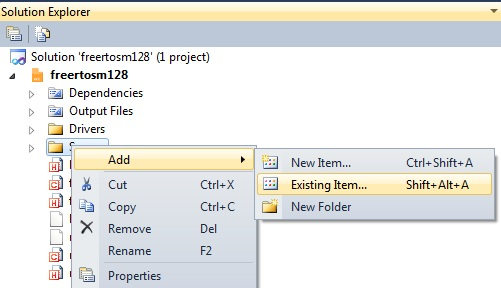 adding existing files to the project