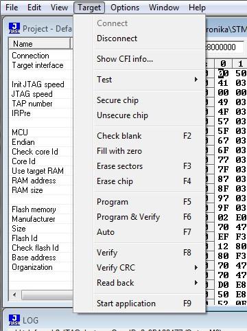 J-Flash ARM target menu
