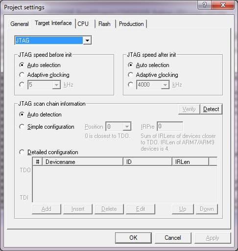 Project settings of J-Flash