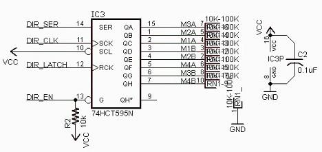 74hct595n shift register in arduino motor shield