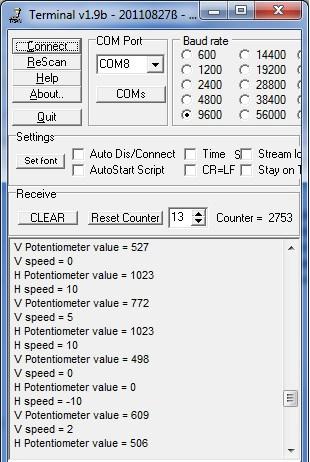 Joystick output on terminal screen