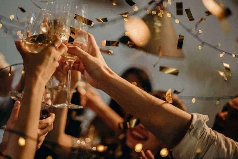 people making a toast to a successful event