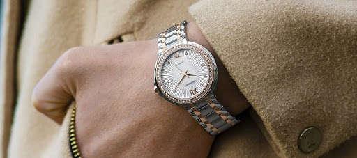 wearing a wristwatch