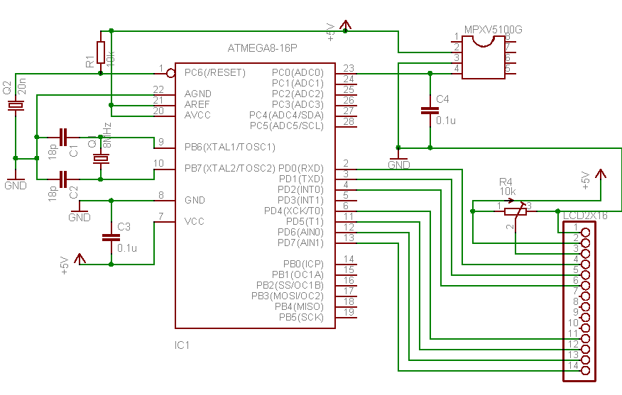 MPX5100 series piezoresistive transducer to AVR atmega8