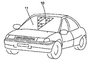 automotive where transparent antennas are stuck to the front window