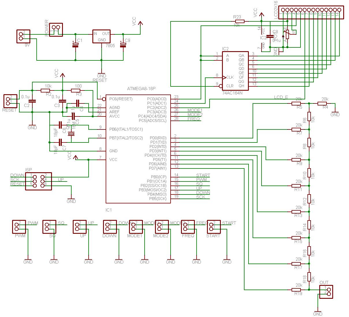 AVR controlled signal generator schematic