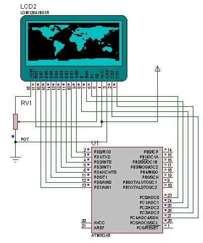 KS0108 graphical LCD with Proteus simulator