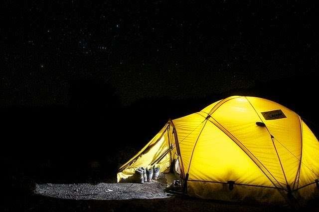light inside tent