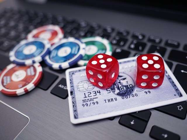 casino tokens and dices