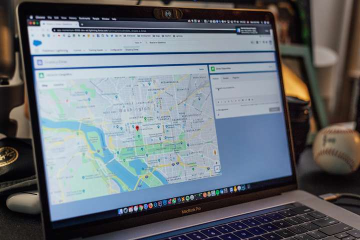 computer screen with map on it