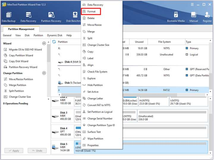 Right-click on your drive from the disk map and click the Format option
