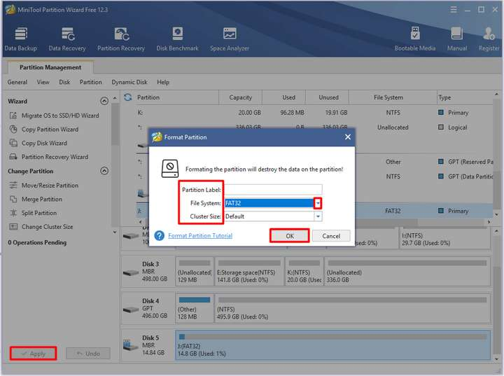 configure the partition label, file system, and cluster size