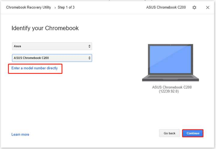 type the model number of your broken Chromebook or select the model number