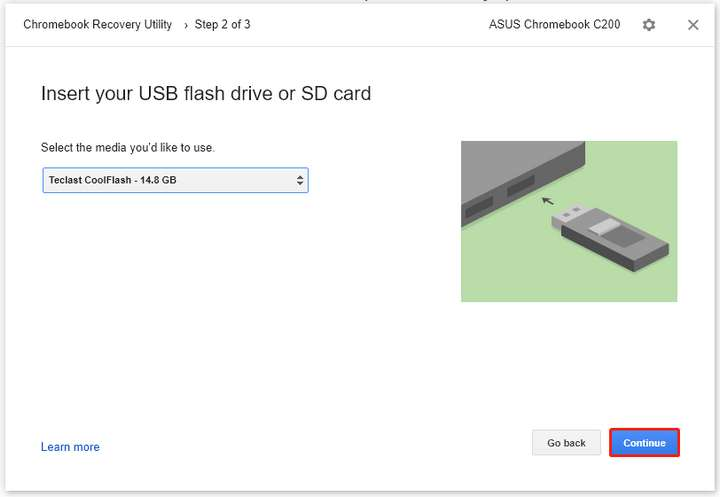 Click on your USB drive from the drop-down menu and click Continue.