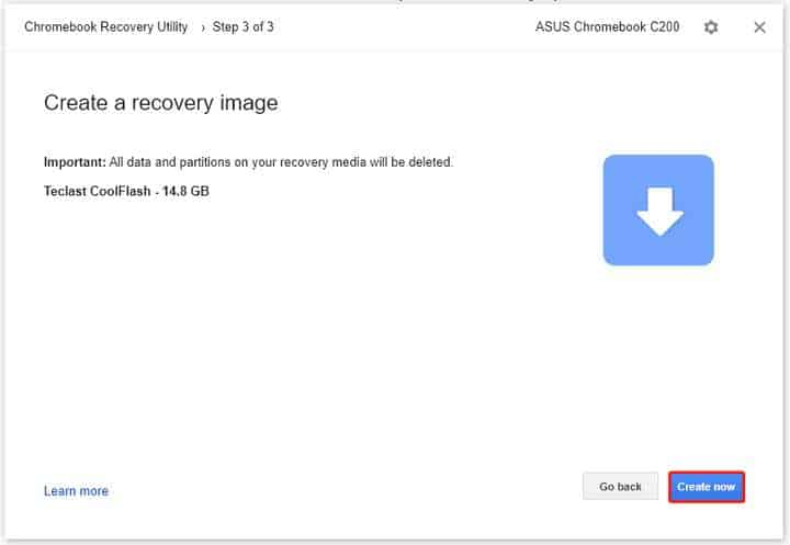 Chromebook Recovery Utility download process