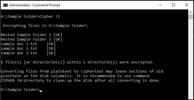 cipher files in cmd