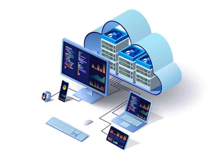 Cloud technology computing concept. Data center concept. Modern cloud technologies. Vector 3d isometric illustration network with computer, laptop, tablet, and smartphone. For web design, presentation