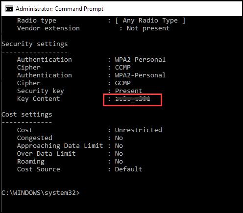 view wifi password in command prompt