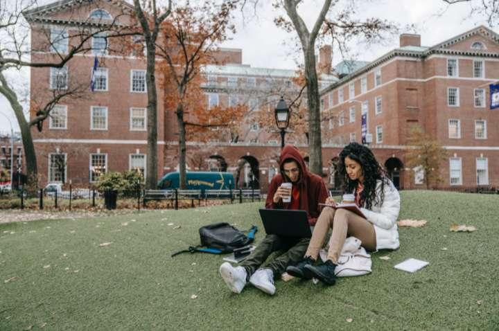 couple of students outside