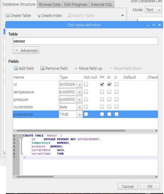 SQLIte create table