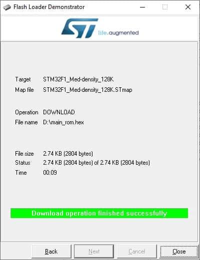 stm32 flash programming finished