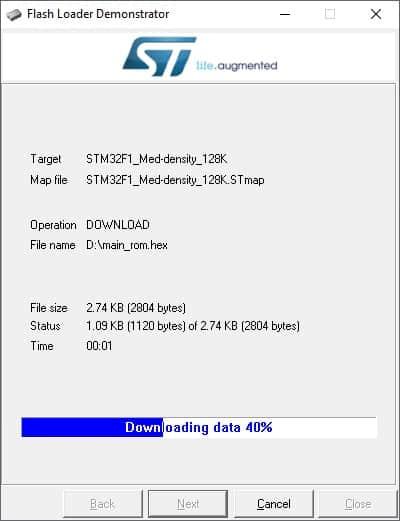 stm32 flash programming in progress