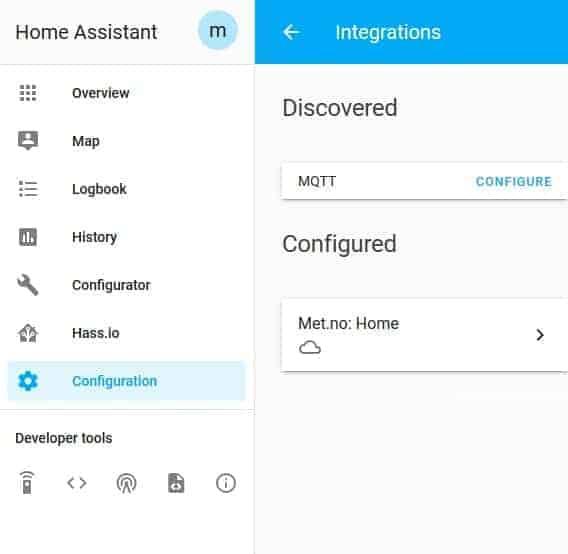 MQTT configure in integrations menu