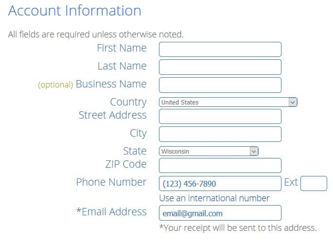 enter account information in to Bluehost