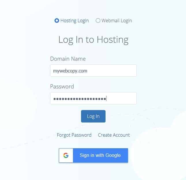 Login to bluehost account