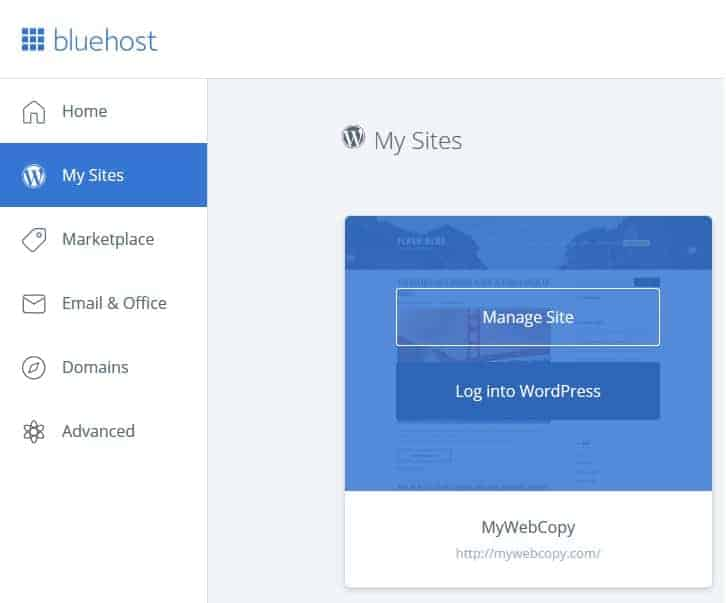 Manage Bluehost sites