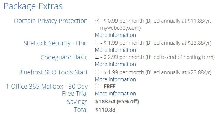 Select bluehost package extras