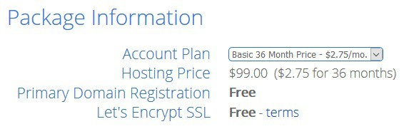 Selecte payment plan in bluehost