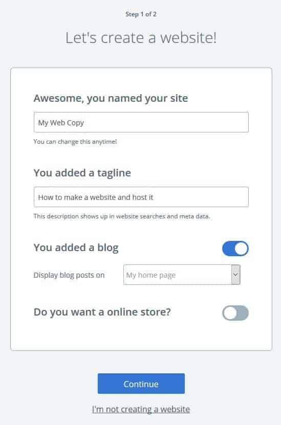 Create website on Bluehost step 1