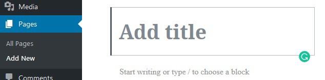 Wordpress add page title